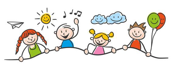 Illustration représant un dessin d'enfant d'enfants