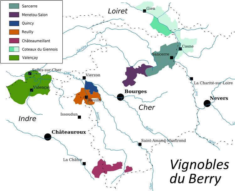 Carte des vignobles du Berry