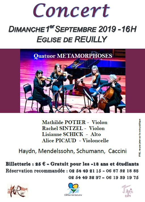 concert j'arts com reuilly amis église quatuor metamorphose