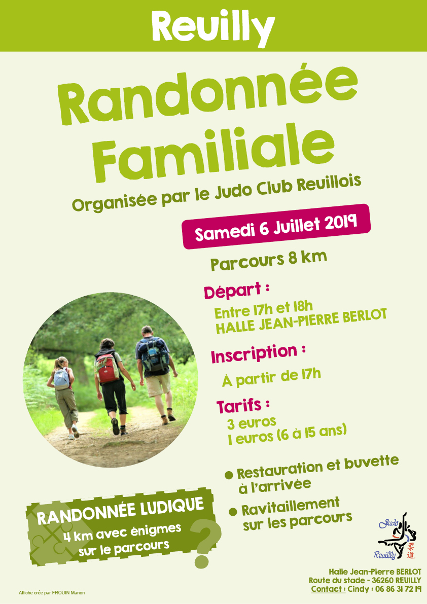 affiche RANDO 2019 reuilly judo club reuillois