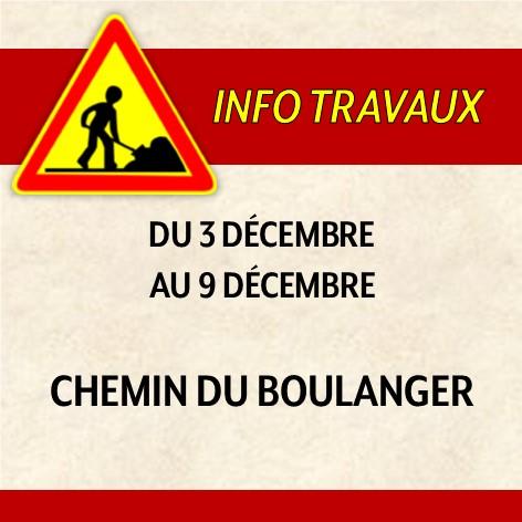 Réfection du chemin du Boulanger du 3 au 9 décembre