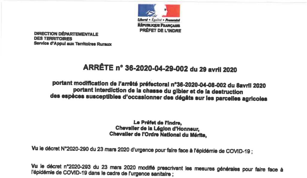 Arrêté portant modification de l'arrêté préfectoral n°36-2020-04-08-002 portant interdiction de la chasse du gibier et de la destruction des espèces susceptibles d'occasionner des dégâts sur les parcelles agricoles