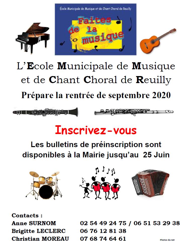 Préinscriptions à l'École Municipale de Musique et de Chant Choral de Reuilly