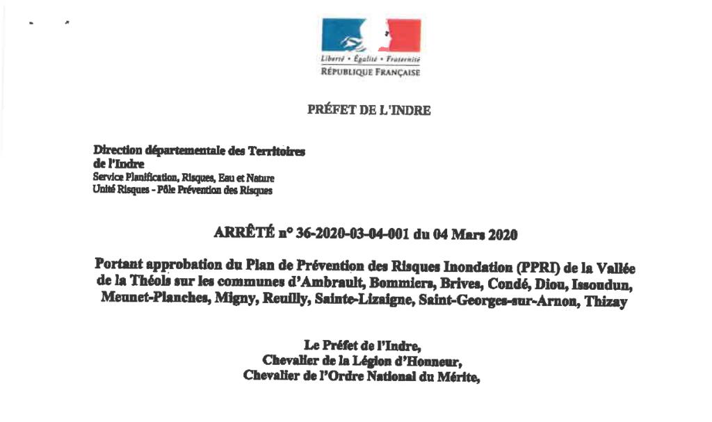 Arrêté portant sur l'approbation du Plan de Prévention des Risques d'Inondation de la Vallée de la Théols