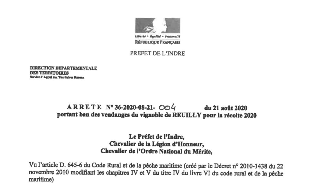 Arrêté portant ban des vendanges du vignoble de Reuilly pour la récolte 2020