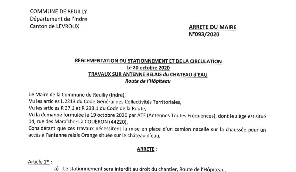 Arrêté portant réglementation du stationnement et de la circulation le 20 octobre 2020 route de l'Hôpiteau