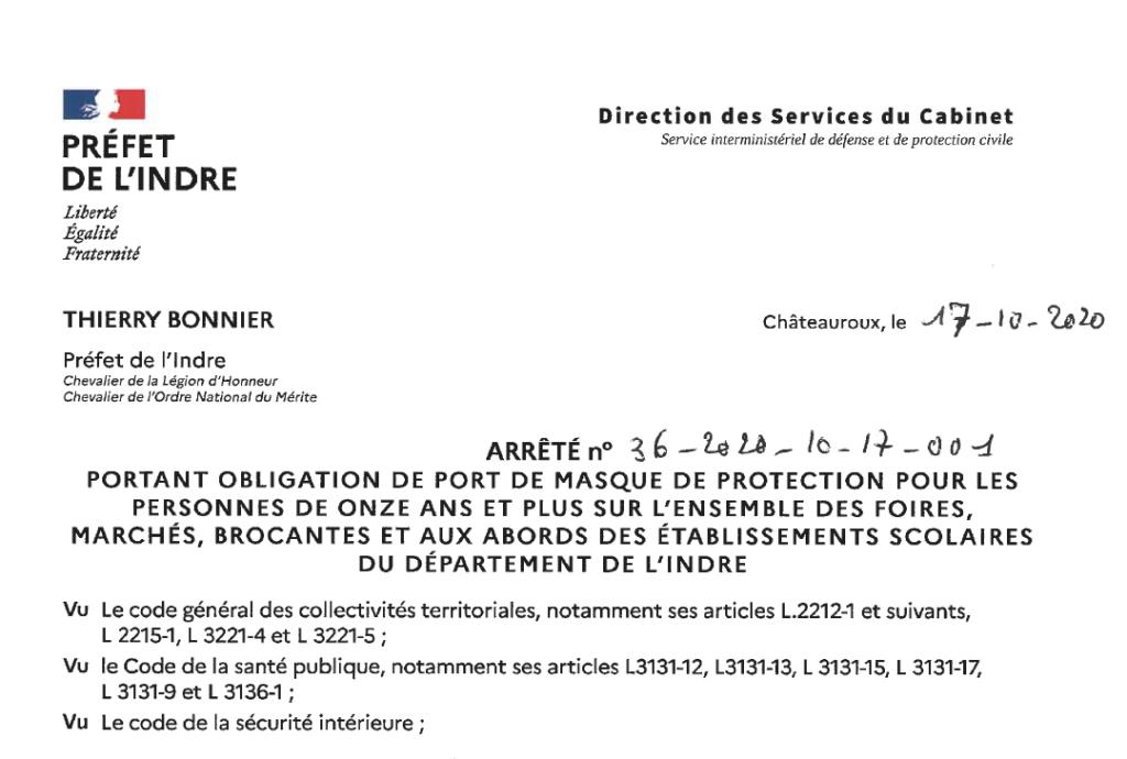 Arrêté portant obligation du port du masque sur l'ensemble des foires, marchés, brocantes et aux abords des écoles de l'Indre