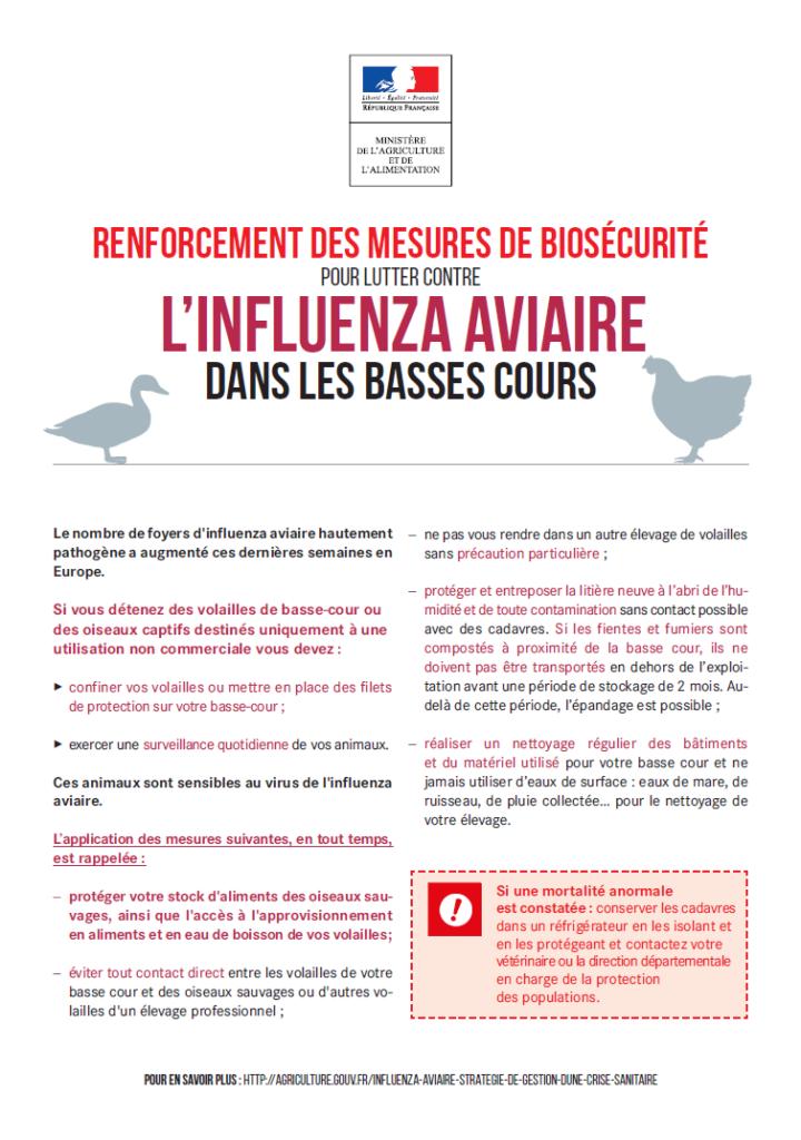Augmentation du niveau de risque d'Influenza Aviaire (Grippe aviaire) de «modéré» à «élevé»
