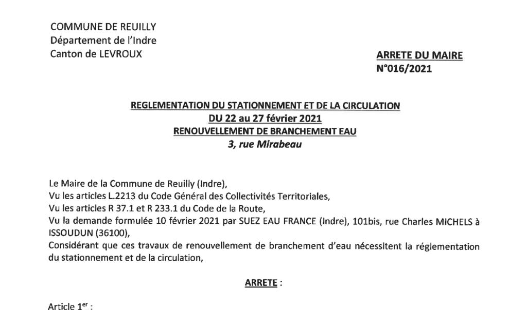 Arrêté portant réglementation du stationnement et de la circulation du 22/02 au 27/02 rue Mirabeau