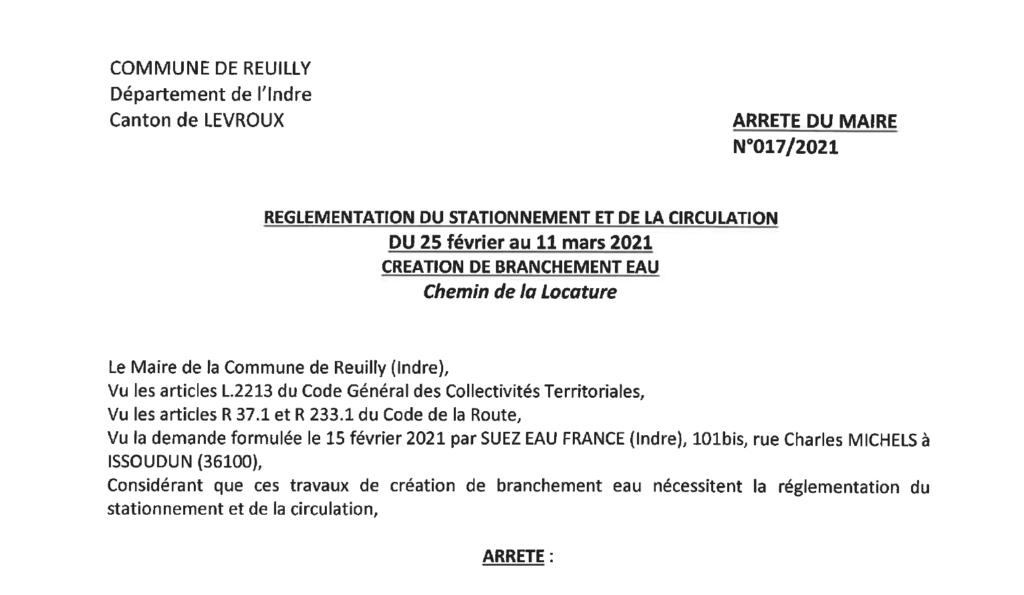 Arrêté portant réglementation du stationnement et de la circulation, du 25/02 au 11/03, chemin de la locature