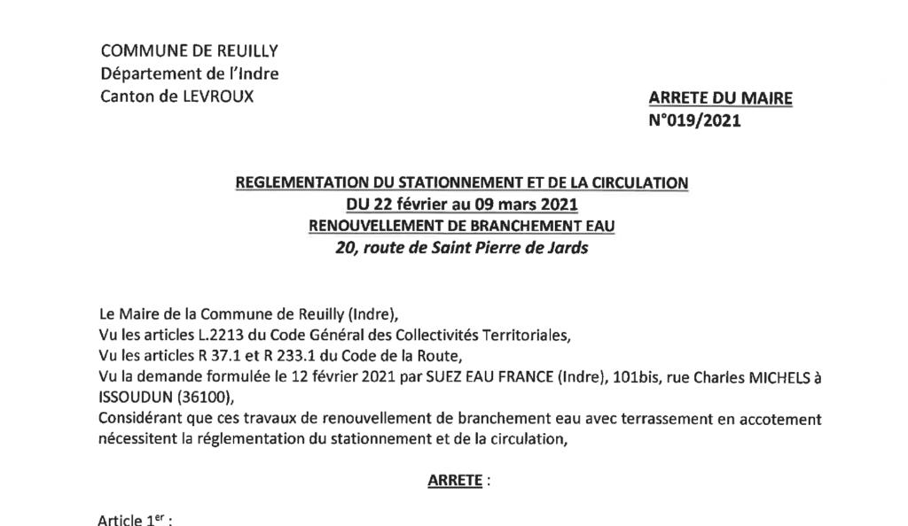 Arrêté portant réglementation du stationnement et de la circulation, du 22/02 au 09/03, route de St-Pierre-de-Jards