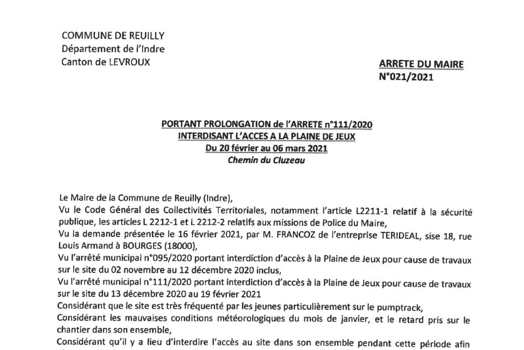 Arrêté portant prolongation d'interdiction d'accès à la Plaine de Jeux du 20 février au 6 mars