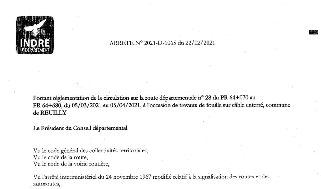 Arrêté portant sur règlementation de circulation sur la D28, du 05/03/2021 au 05/04/2021 à l'occasion de travaux de fouilles sur câbles enterrés