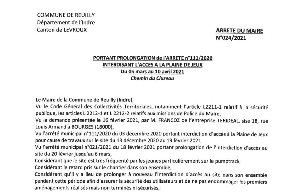 Arrêté portant prolongation de l'interdiction d'accès à la Plaine de jeux, du 5/03 au 10/04, chemin du Cluzeau
