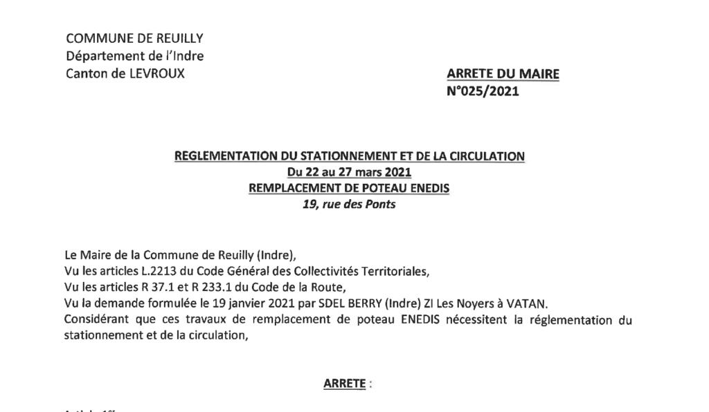 Arrêtés portant règlementation du stationnement et de la circulation, du 22/03 au 27/03 pour des remplacements de poteaux Enedis