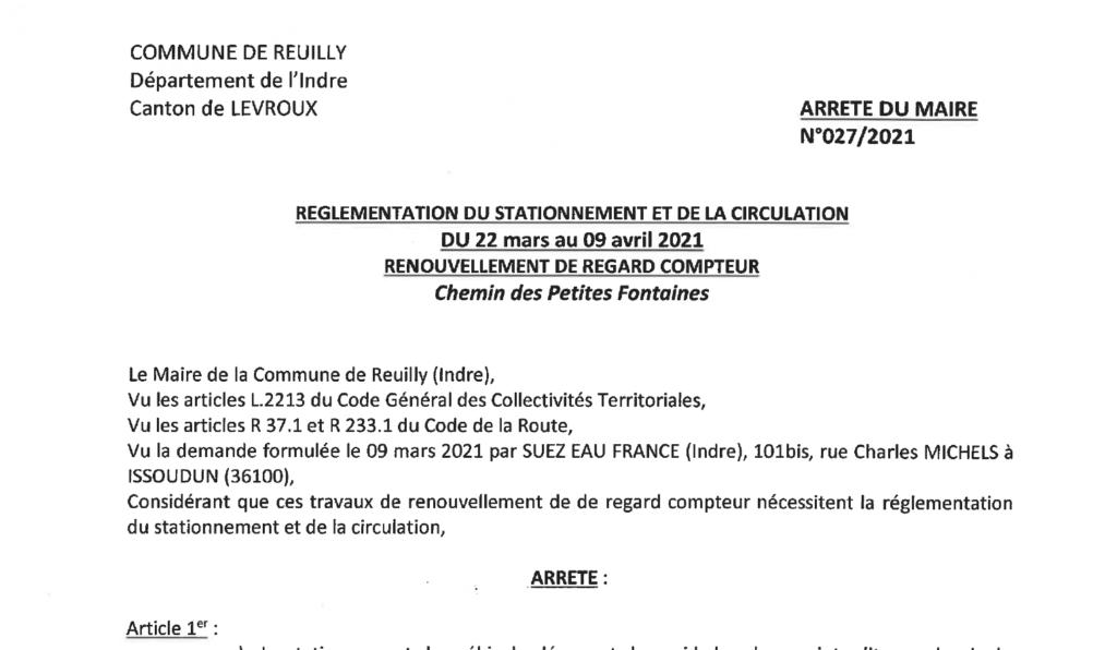 Arrêtés portant règlementation du stationnement et de la circulation, du 22/03 au 09/04 pour des renouvellements de regard compteur