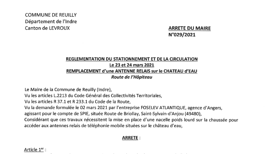 Arrêté portant réglementation du stationnement et de la circulation, le 23/03 et 24/03, pour le remplacement d'une antenne relais sur le Château d'eau, route de l'Hôpiteau