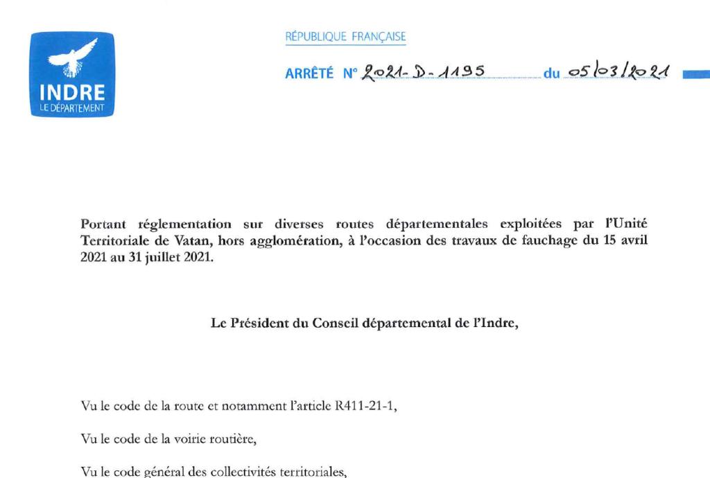 Arrêté portant réglementation sur diverses routes départementales, à l'occasion des travaux de fauchage du 15/04 au 31/07
