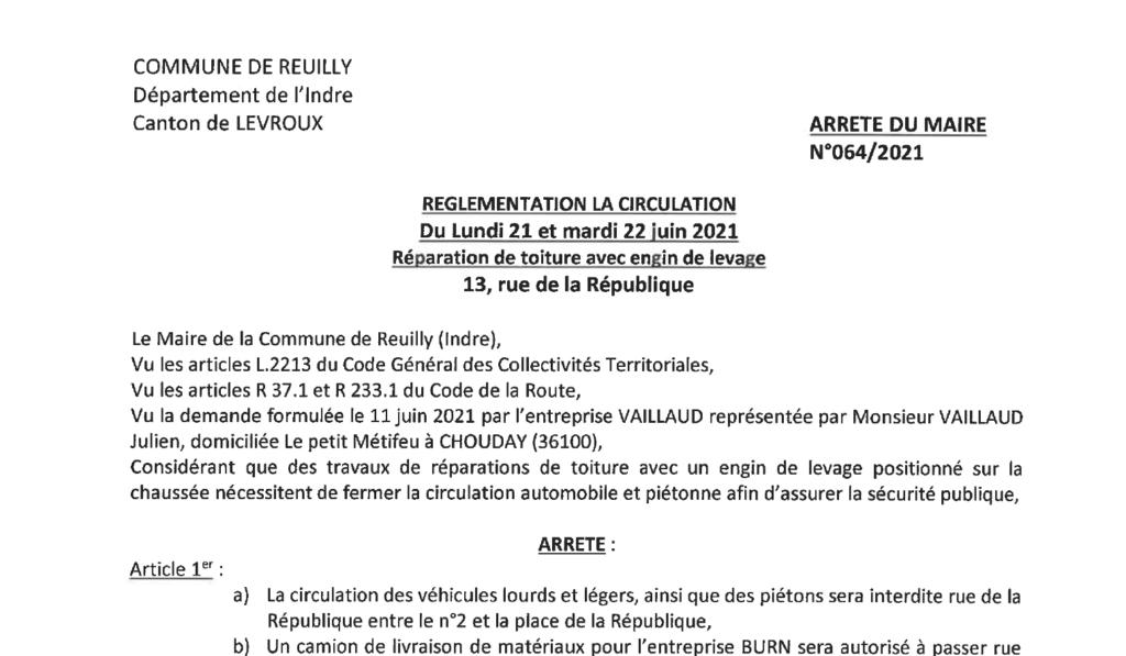 Arrêté portant réglementation de la circulation le 21/06 et 22/06 au 13 rue de la République pour la réparation de toiture avec engin de levage