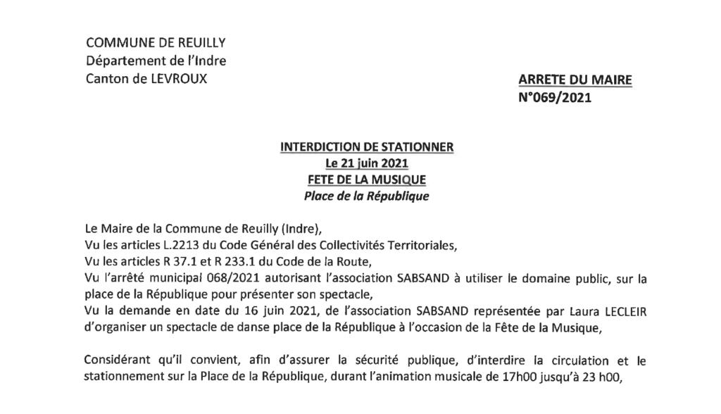 Arrêté portant interdiction de stationner le 21/06 place de la république à l'occasion de la fête de la musique