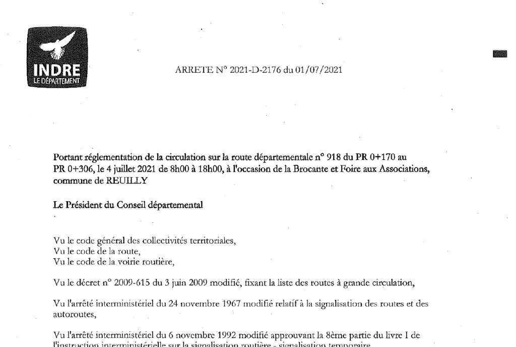 Arrêté portant règlementation de la circulation sur la D918 le 4/07 de 8h à 18h à l'occasion de la Brocante et du Forum des Associations