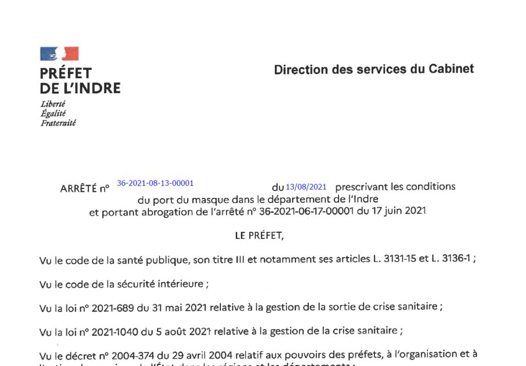 Arrêté portant sur les conditions du port du masque dans le département de l'Indre