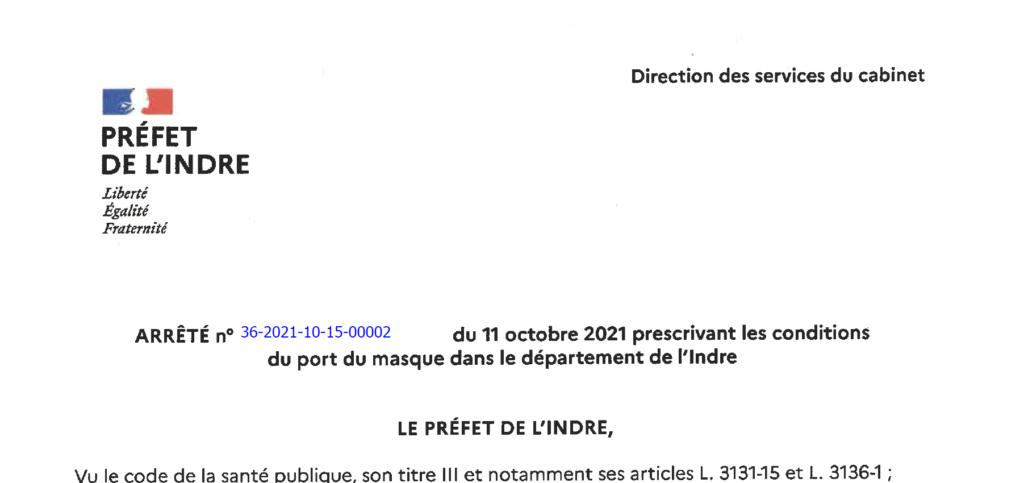 Arrêté prescrivant les conditions du port du masque dans le département de l'Indre